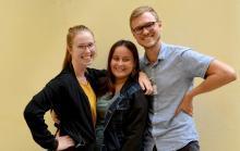 Bild på tre av Union to Unions praktikanter 2018, Sophia, Linnea och Otto.